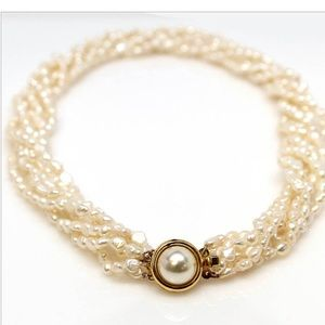 """Jewelry - Multi Strand Twisted Freshwater Pearl 16"""" Necklace"""